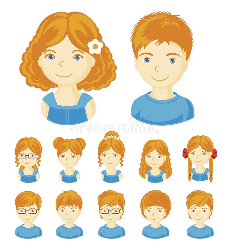 Grupo de caras das crianças ilustração do vetor