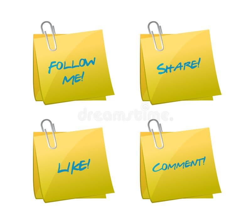 Grupo de cargos. como, siga, compartilhe e comente ilustração royalty free