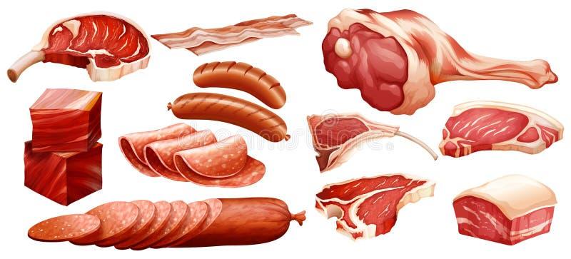 Grupo de carnes diferentes ilustração do vetor