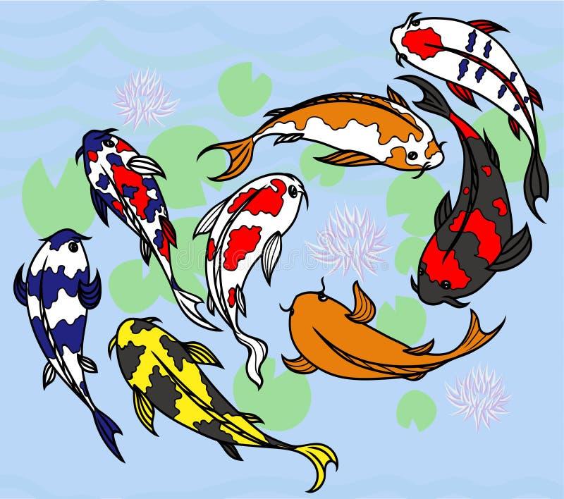 Grupo de carpas brilhantes japonesas ilustração royalty free