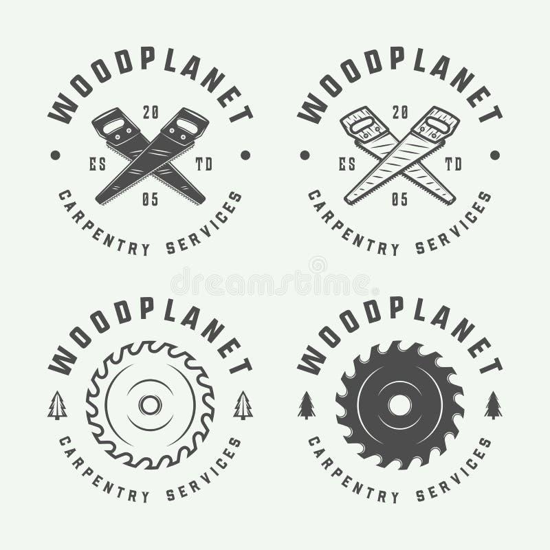 Grupo de carpintaria retro do vintage, de carpintarias e de etiquetas do mecânico ilustração do vetor