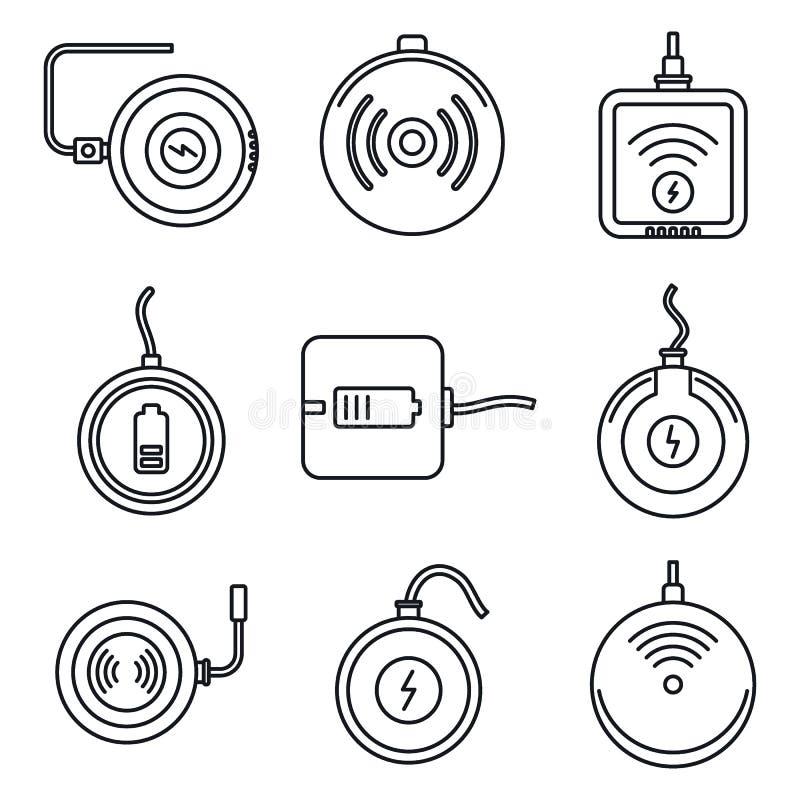 Grupo de carregamento sem fio dos ícones, estilo do esboço ilustração stock