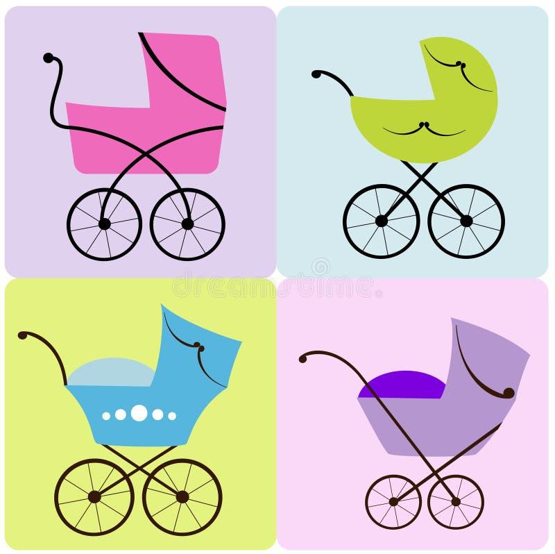 Grupo de carrinhos de criança de bebê ilustração stock