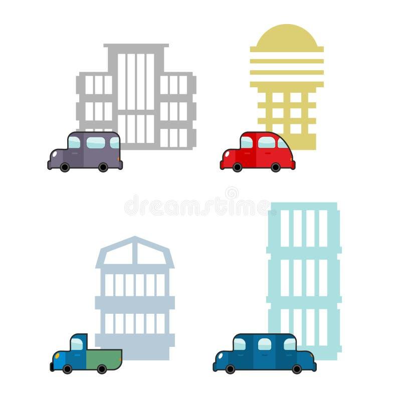Grupo de carro e de casa Construções do transporte e do negócio Collecti ilustração do vetor