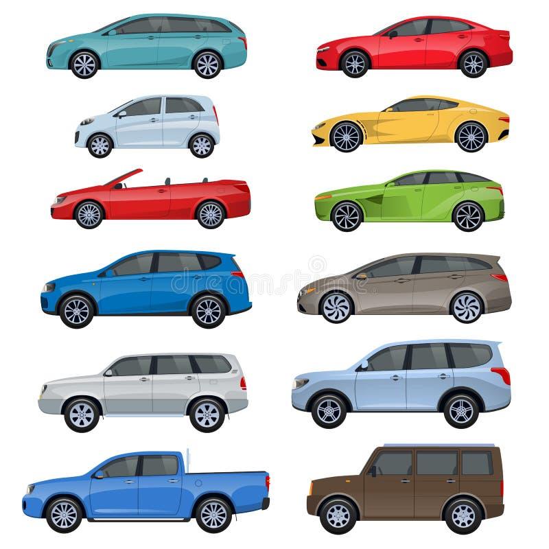 Grupo de carros de competência dos passageiros dos esportes: sedan, jipe, carro com porta traseira ilustração royalty free