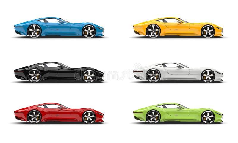 Grupo de carros de esportes super modernos em várias cores ilustração do vetor