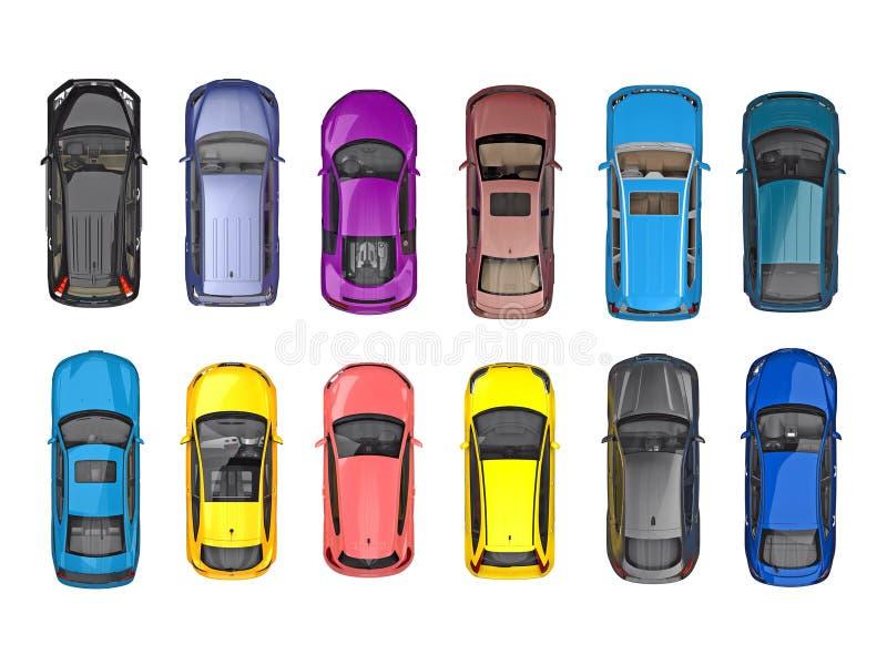 Grupo de carros na vista superior isolados no branco ilustração royalty free