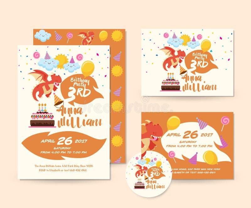 Grupo de cartão bonito de Dragon Theme Happy Birthday Invitation e molde da ilustração do inseto ilustração royalty free