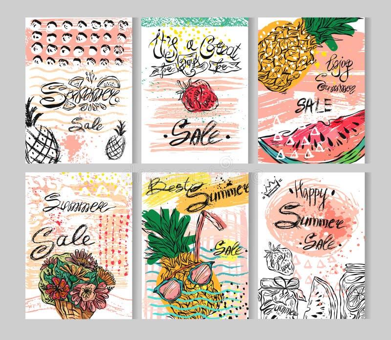 Grupo de cartão caligráfico abstrato tirado mão do verão Coleção do vetor de cartões brilhantes da venda do verão Cartazes bonito ilustração stock