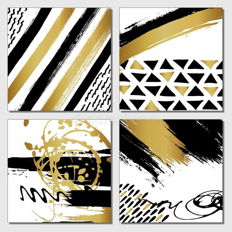 Grupo de cartão caligráfico tirado do encanto da forma mão criativa ilustração do vetor