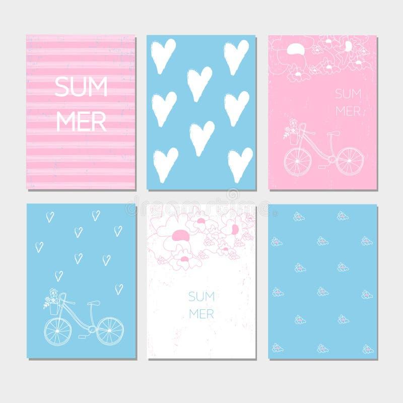 Grupo de cartão caligráfico tirado mão do verão Cartões de verão da coleção do vetor ilustração stock