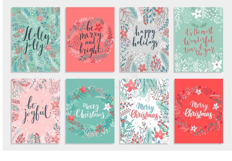 Grupo de cartão de Callygraphic do Natal - floral tirado mão ilustração royalty free