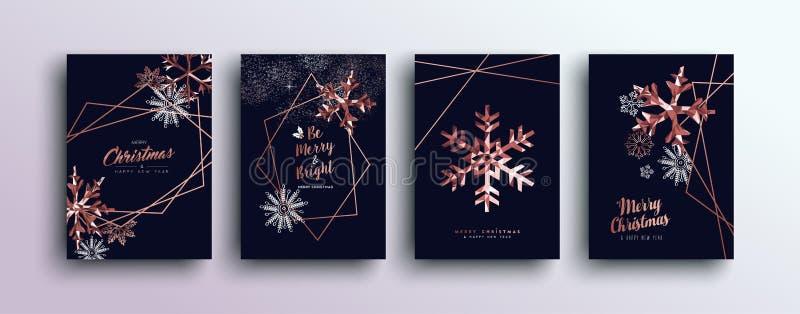 Grupo de cartão de cobre cor-de-rosa do Feliz Natal ilustração do vetor