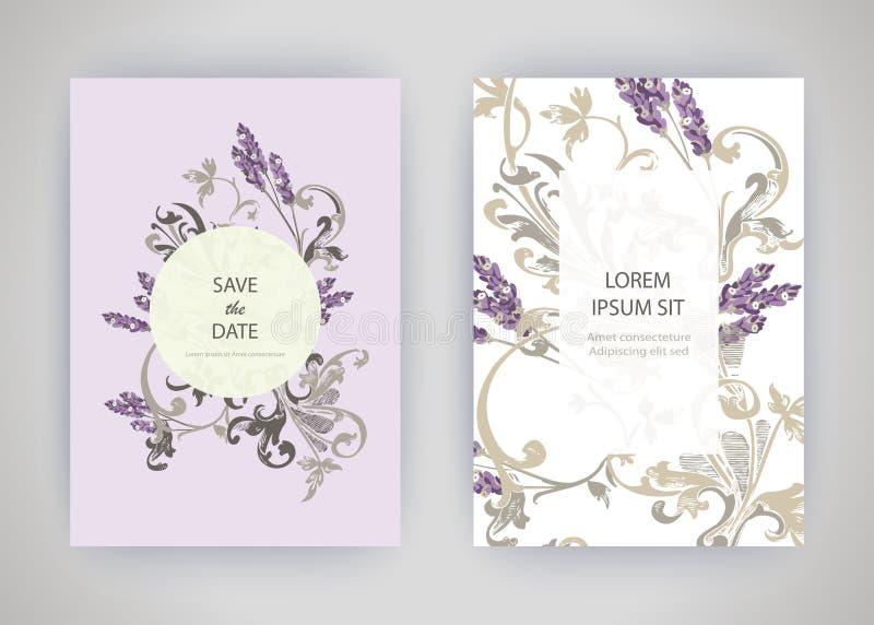 Grupo de cartão com alfazema da flor, folhas Conce do ornamento do casamento ilustração stock