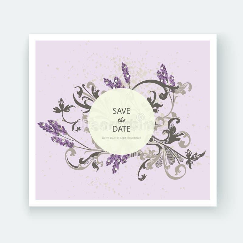 Grupo de cartão com alfazema da flor, folhas Conce do ornamento do casamento ilustração do vetor