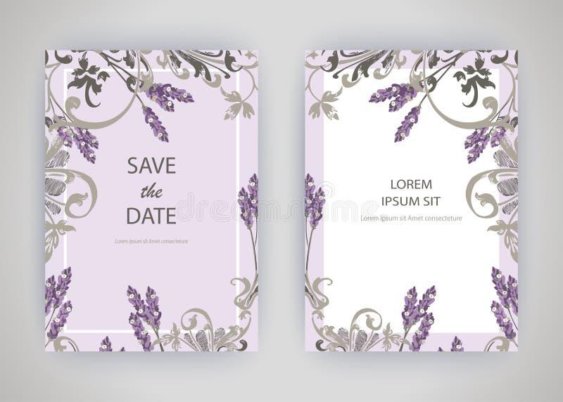 Grupo de cartão com alfazema da flor, folhas Conce do ornamento do casamento ilustração royalty free