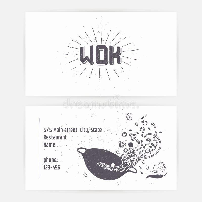 Grupo de cartão com macarronetes do frigideira chinesa Entregue o molde e o sunburst tirados do logotipo rotulação monocromática  ilustração royalty free