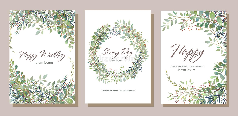 Grupo de cartão com os galhos bonitos com folhas Ornamento c do casamento ilustração royalty free