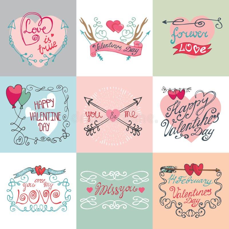 Grupo de cartão da caligrafia do dia do ` s do Valentim ilustração royalty free