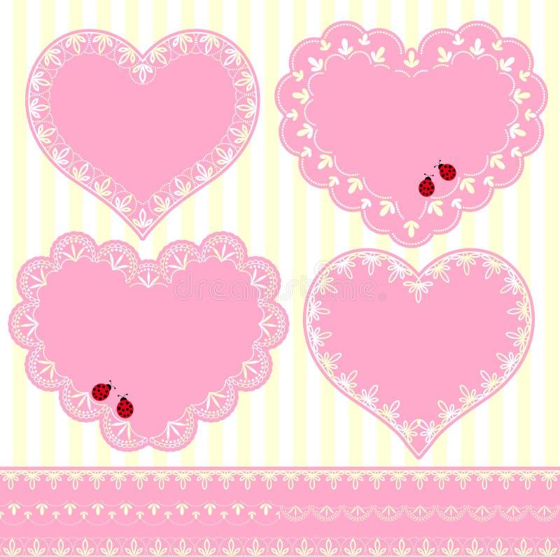 Grupo de cartão da forma do coração do quadro da flor ilustração do vetor