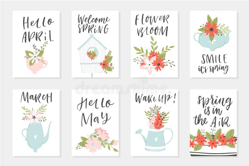Grupo de cartão da mola, elementos tirados mão com citações, caligrafia, flores, grinalda, folha ilustração do vetor