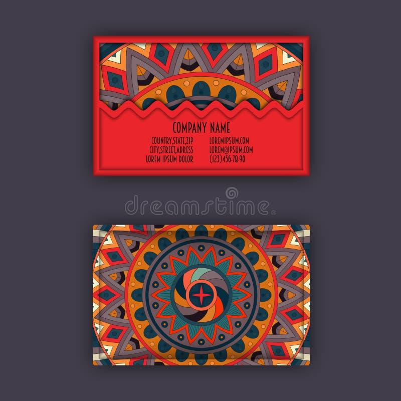 Grupo de cartão da visita do vintage do vetor Teste padrão floral da mandala e Orn ilustração do vetor
