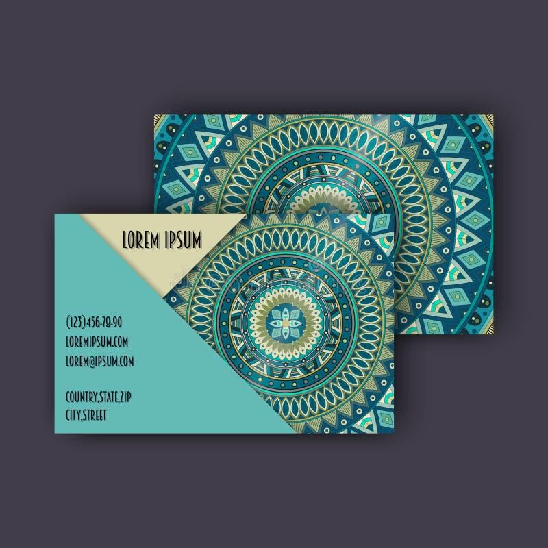 Grupo de cartão da visita do vintage do vetor Teste padrão floral e ornamento da mandala Disposição de projeto oriental Islã, ára ilustração stock