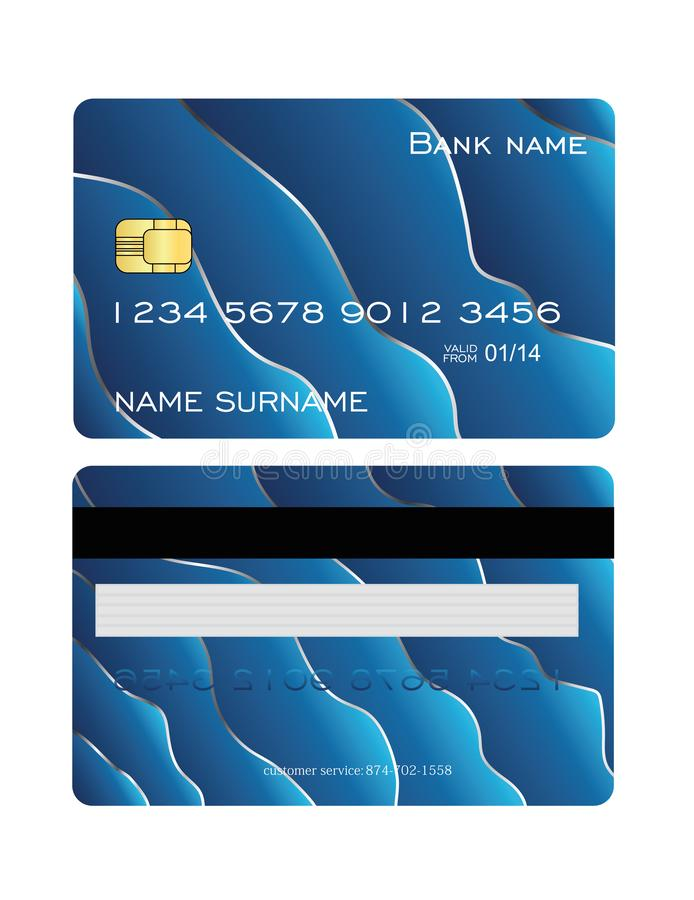 Grupo de cartão detalhado realístico do crédito com fundo abstrato azul e de prata colorido do projeto Molde da parte dianteira e ilustração royalty free