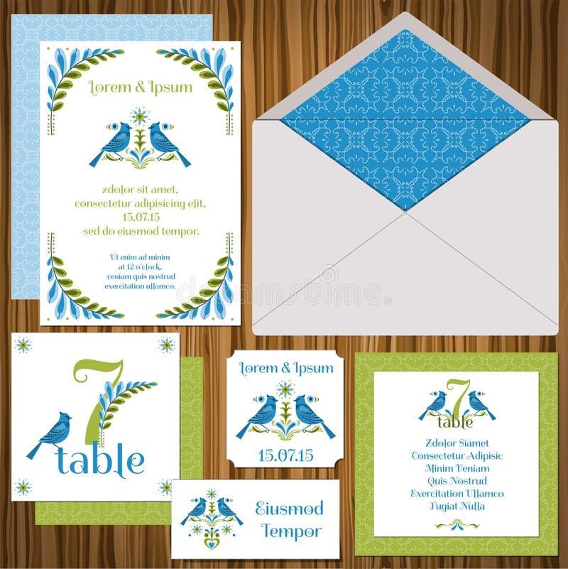 Grupo de cartão do convite do casamento ilustração royalty free