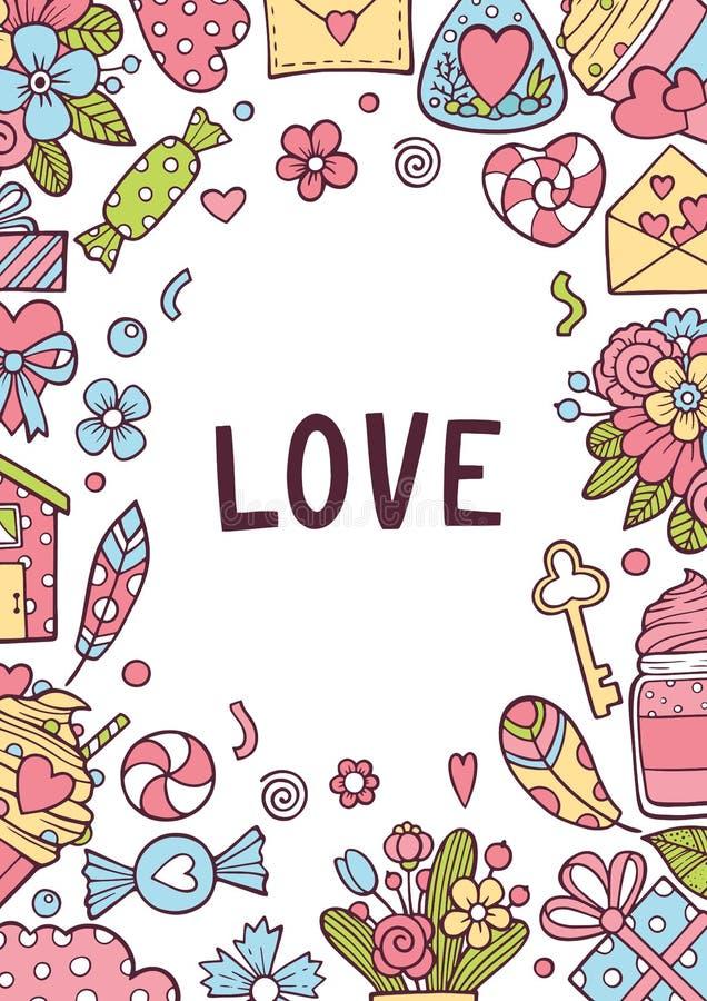 Grupo de cartão do dia de Valentim com corações Ouro, preto, rosa, cores brancas Etiquetas do presente com textura do brilho do o ilustração do vetor