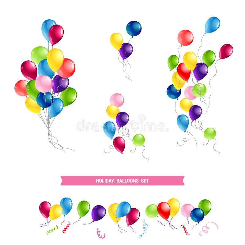 Grupo de cartão do feliz aniversario ilustração do vetor