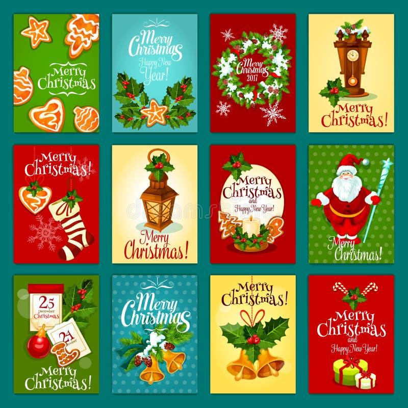 Grupo de cartão do feriado de inverno do Natal ilustração stock