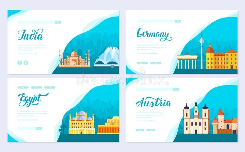 Grupo de cartão do folheto de informação do curso Índia do país da paisagem, Alemanha, Egito, Áustria do molde de flyear, bandeir ilustração stock