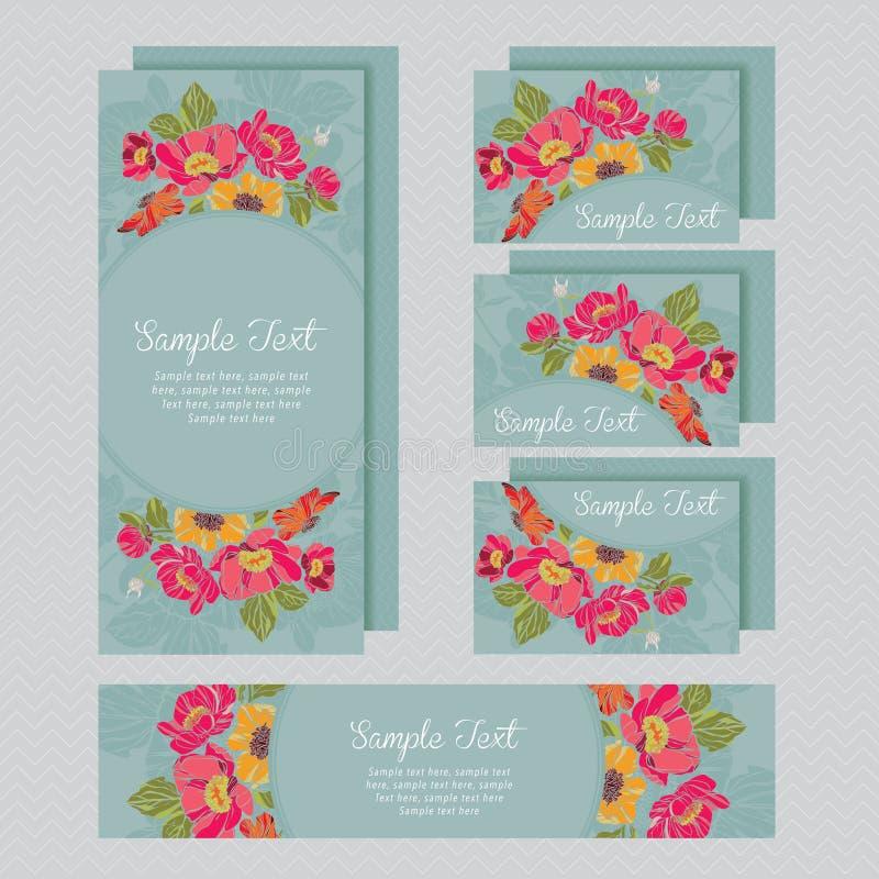 Grupo de cartão dos convites do casamento ilustração stock