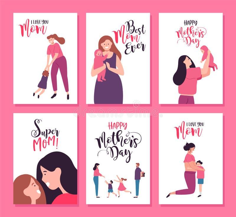 Grupo de cartão feliz da família do dia de mães com crianças ilustração do vetor