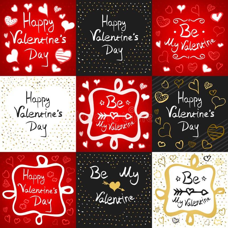 Grupo de cartão feliz do dia de Valentim ilustração do vetor