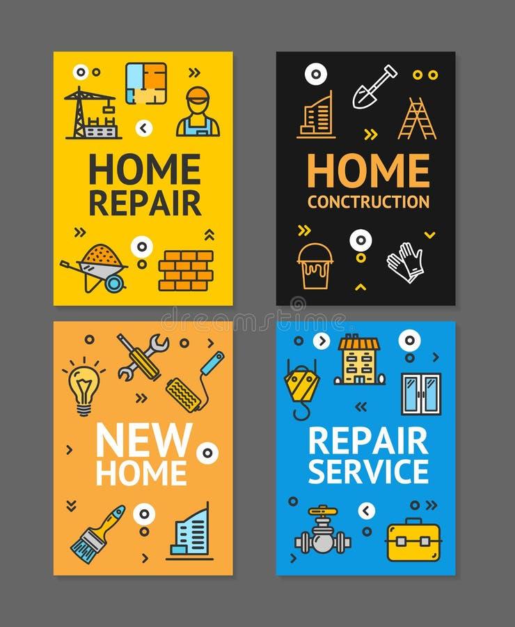 Grupo de cartão home dos cartazes da bandeira do inseto do reparo Vetor ilustração royalty free