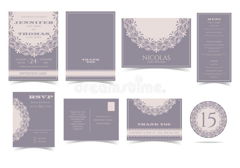 Grupo de cartão redondo do convite do casamento do laço do vintage ilustração do vetor