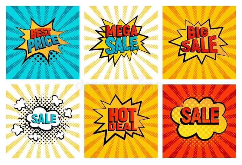 Grupo de cartão retro do vetor dos ícones das vendas ilustração do vetor