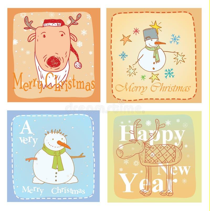 Grupo de cartão tirado mão do Natal Ilustração do vetor ilustração stock