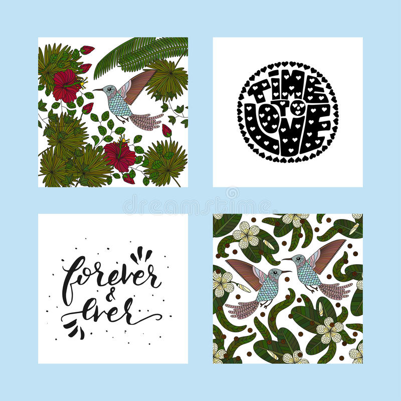 Grupo de cartão tropicais do verão com ilustrações tropicais detalhadas e citações handdrawn da rotulação ilustração stock