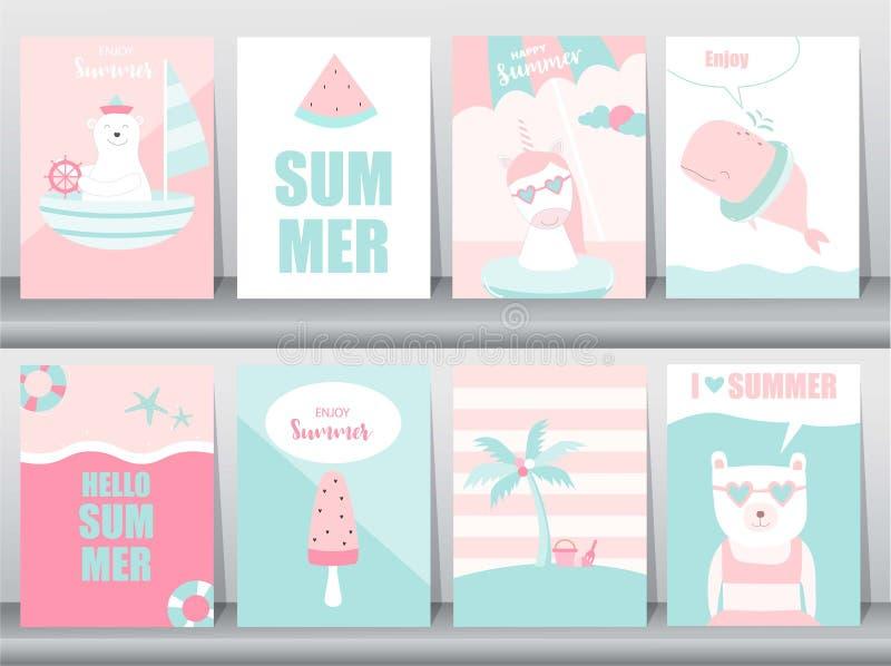 Grupo de cartão de verão no projeto do teste padrão, cartaz, molde, cumprimento, animal, fresco, gelado, feriados do ‰ do ¹ do à, ilustração royalty free