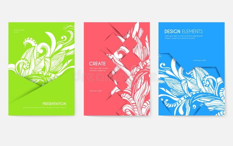 Grupo de cartões abstrato do folheto do vetor Imprima o molde de flyear, compartimentos da arte, cartazes, capa do livro, bandeir ilustração do vetor