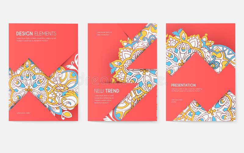 Grupo de cartões abstrato do folheto do vetor Imprima o molde de flyear, compartimentos da arte, cartazes, capa do livro, bandeir ilustração stock