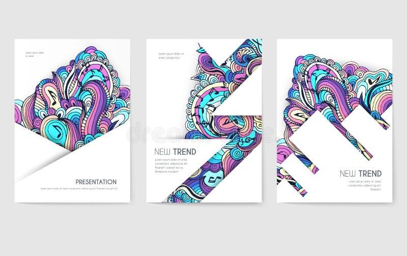 Grupo de cartões abstrato do folheto do vetor Molde de flyear, compartimentos da arte da música, cartazes, capa do livro, bandeir ilustração royalty free