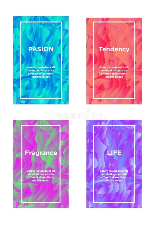 Grupo de cartões abstratos com cores fluidas ilustração do vetor