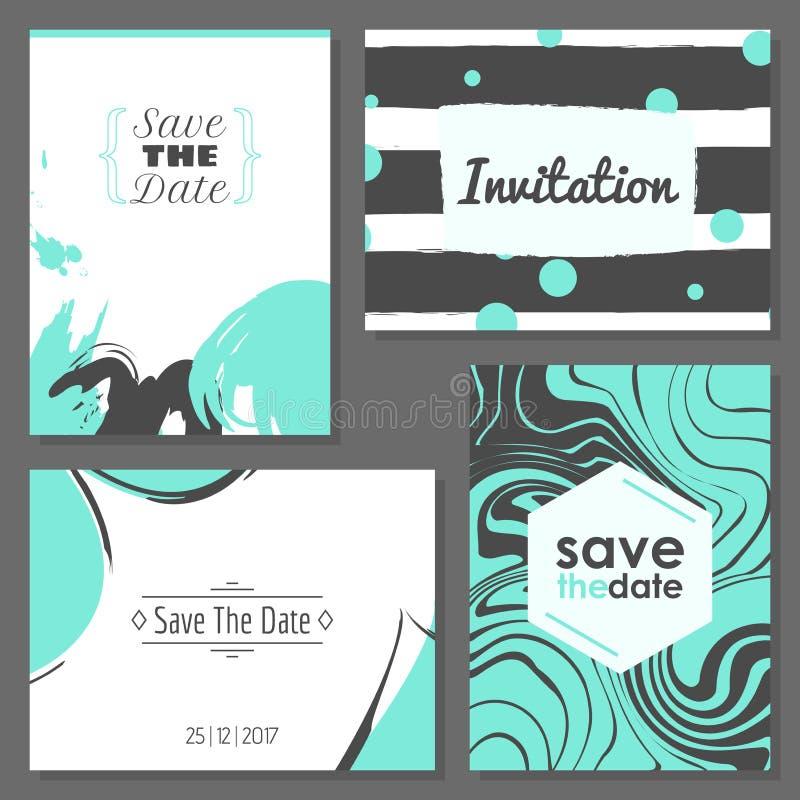 Grupo de cartões abstratos românticos ilustração royalty free