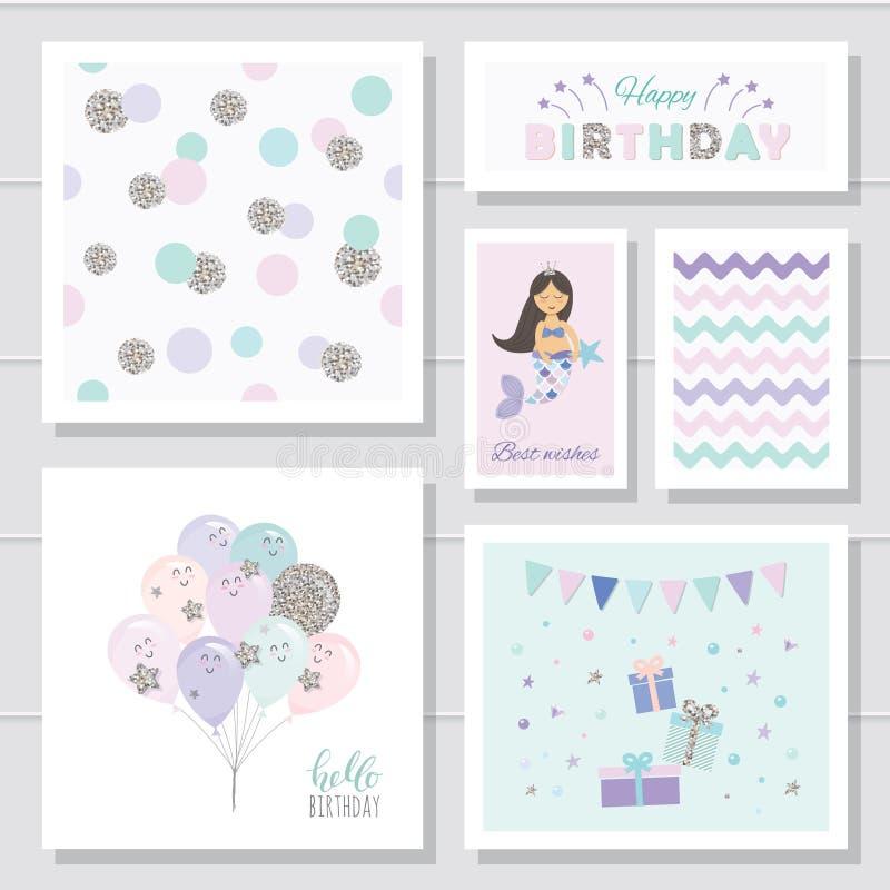 Grupo de cartões bonito do aniversário para meninas Com elementos do brilho Personagens de banda desenhada da sereia e dos balões ilustração do vetor