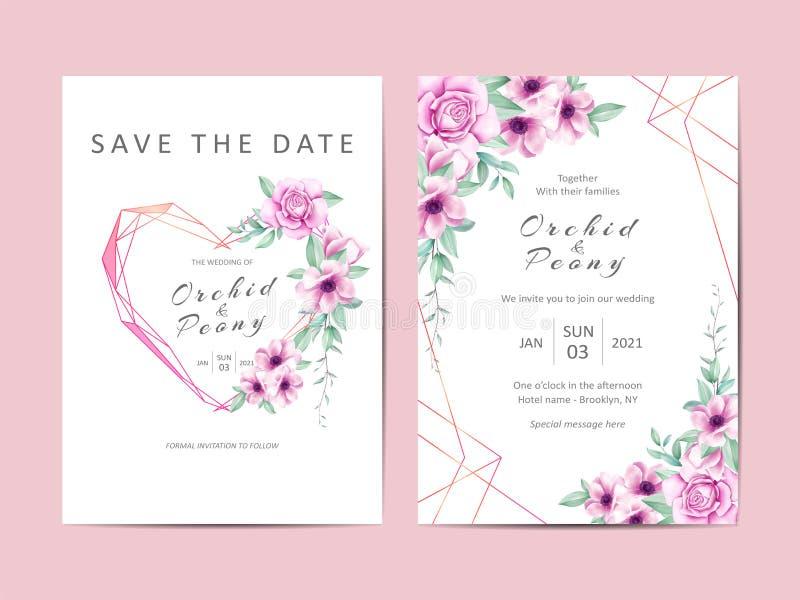 Grupo de cartões bonito do molde do convite do casamento com flores roxas ilustração royalty free
