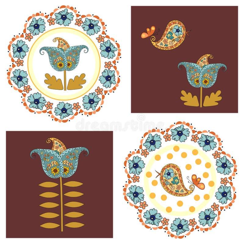 Grupo de cartões bonitos com flores e pássaros ilustração royalty free